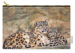 Snow Leopards Carry-all Pouch by David Stribbling