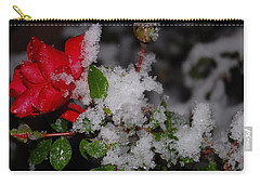 Carry-all Pouch featuring the photograph Snow Rose by Mim White