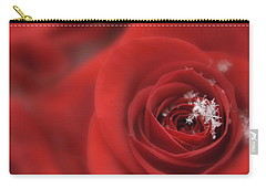 Snowflakes On A Rose Carry-all Pouch