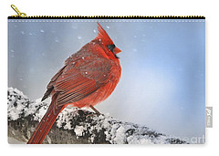 Carry-all Pouch featuring the photograph Snowing On Red Cardinal by Nava Thompson