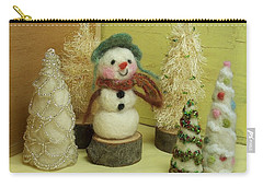 Snowman And Trees Holiday Carry-all Pouch