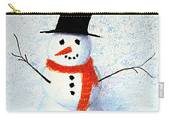 Carry-all Pouch featuring the pastel Snowman by Marna Edwards Flavell