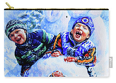 Carry-all Pouch featuring the painting Snowmen by Hanne Lore Koehler
