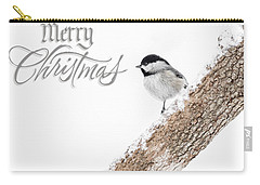 Snowy Chickadee Christmas Card Carry-all Pouch