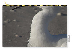 Snowy Egret Fishing Carry-all Pouch by Meg Rousher