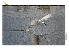 Carry-all Pouch featuring the photograph Snowy Egret Wind Sailing by John M Bailey