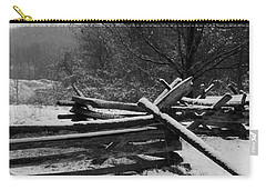 Carry-all Pouch featuring the photograph Snowy Fence by Michael Porchik