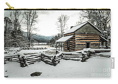 Carry-all Pouch featuring the photograph Snowy Log Cabin by Debbie Green