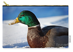 Carry-all Pouch featuring the photograph Snowy Mallard by Eleanor Abramson