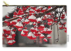 Carry-all Pouch featuring the photograph Snowy Mountain Ash Berries by Fran Riley