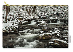 Carry-all Pouch featuring the photograph Snowy Mountain Stream by Debbie Green