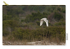 Carry-all Pouch featuring the photograph Snowy Owl Dune Flight by Paul Rebmann