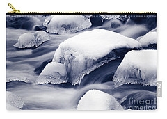 Carry-all Pouch featuring the photograph Snowy Rocks by Liz Leyden