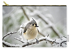 Snowy Tufted Titmouse Carry-all Pouch by Christina Rollo
