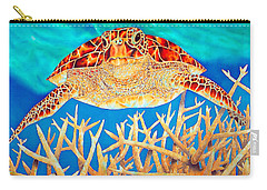 Sea  Turtle Soaring Over Staghorn Carry-all Pouch