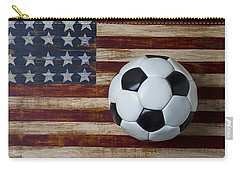 Soccer Ball And Stars And Stripes Carry-all Pouch by Garry Gay