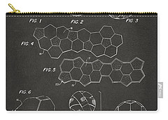 Carry-all Pouch featuring the digital art Soccer Ball Construction Artwork - Gray by Nikki Marie Smith