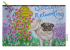 Carry-all Pouch featuring the painting Social Networking Pug by Diane Pape