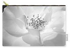 Soft Petal Rose In Black And White Carry-all Pouch by Jennie Marie Schell