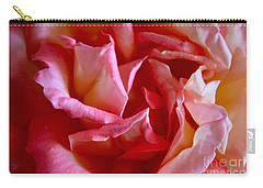 Carry-all Pouch featuring the photograph Soft Pink Petals Of A Rose by Janice Rae Pariza