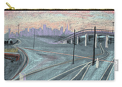 Carry-all Pouch featuring the painting Soft Sunset Over San Francisco And Oakland Train Tracks by Asha Carolyn Young