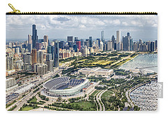 Soldier Field And Chicago Skyline Carry-all Pouch by Adam Romanowicz