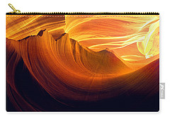 Carry-all Pouch featuring the photograph Somewhere In America Series - Golden Yellow Light In Antelope Canyon by Lilia D