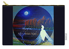 Carry-all Pouch featuring the painting Song Of The Silent  Autumn Night In The Round With Text  by Kimberlee Baxter