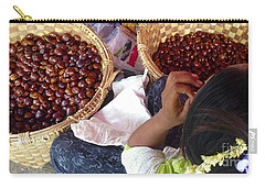 Carry-all Pouch featuring the photograph Sorting Water Chestnuts Zay Cho Street Market 29th Street Mandalay Burma by Ralph A  Ledergerber-Photography
