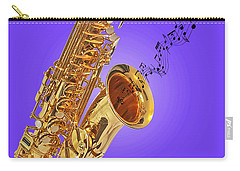 Sounds Of The Sax In Purple Carry-all Pouch by Gill Billington