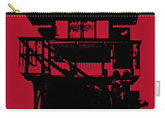 Carry-all Pouch featuring the digital art South Beach Lifeguard Stand by Jean luc Comperat