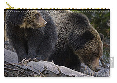 Carry-all Pouch featuring the photograph Sow With Cub On Log by J L Woody Wooden