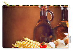 Spaghetti Pasta With Tomatoes And Garlic Carry-all Pouch by Amanda Elwell