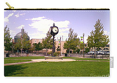 Carry-all Pouch featuring the photograph Sparks Community Clock by Bobbee Rickard