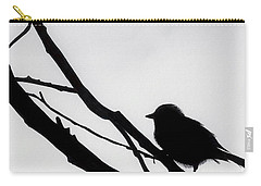 Carry-all Pouch featuring the drawing Sparrow In A Gray Sky by D Hackett