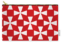 Spice Twirl- Red And White Pattern Carry-all Pouch