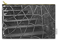Carry-all Pouch featuring the photograph Spider And Web Iron Gate Art Prints by Valerie Garner