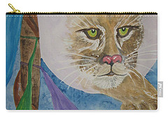 Carry-all Pouch featuring the painting Spirit Of The Mountain Lion by Ellen Levinson