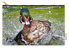 Carry-all Pouch featuring the photograph Splashdown - Wood Duck by Adam Olsen