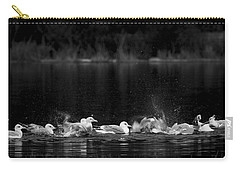 Carry-all Pouch featuring the photograph Splashing Seagulls by Yulia Kazansky