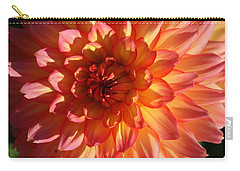 Carry-all Pouch featuring the photograph Splendor In Pink And Yellow - Dahlia by Dora Sofia Caputo Photographic Art and Design