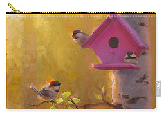 Spring Chickadees 1 - Birdhouse And Birch Forest Carry-all Pouch