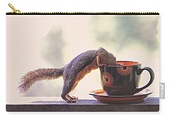 Squirrel And Coffee Carry-all Pouch by Peggy Collins