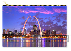 St. Louis Skyline At Dusk Gateway Arch Color Panorama Missouri Carry-all Pouch