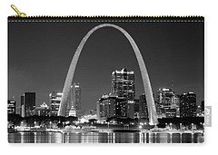 St. Louis Skyline At Night Gateway Arch Black And White Bw Panorama Missouri Carry-all Pouch