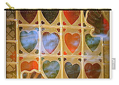 Carry-all Pouch featuring the photograph Stained Glass Hands And Hearts by Kathy Barney