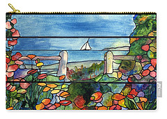 Stained Glass Tiffany Landscape Window With Sailboat Carry-all Pouch by Donna Walsh