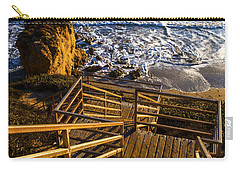 Carry-all Pouch featuring the photograph Steps To Blue Ocean And Rocky Beach by Jerry Cowart