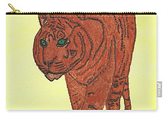 Carry-all Pouch featuring the painting Stalking Tiger by Tracey Williams