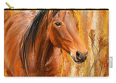 Standing Regally- Bay Horse Paintings Carry-all Pouch